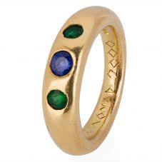Second Hand 14ct Yellow Gold Sapphire and Emerald Three Stone Ring 4309067