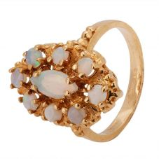 Second Hand 9ct Yellow Gold Opal Cluster Ring 4309120