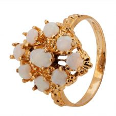 Second Hand 9ct Yellow Gold Opal Cluster Ring 4309131