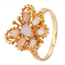 Second Hand 9ct Yellow Gold White Opal Butterfly Ring 4309132
