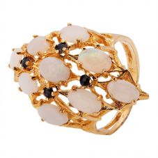 Second Hand 9ct Yellow Gold Opal and Sapphire Ring 4309139