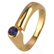 Second Hand 14ct Yellow Gold Offset Tanzanite Solitaire Ring 4309165