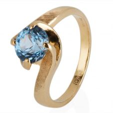 Second Hand 9ct Yellow Gold Blue Stone Set Solitaire Ring 4309178