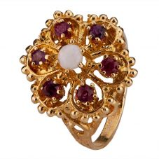 Second Hand 9ct Yellow Gold Opal and Ruby Cluster Ring 4309206