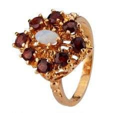 Second Hand 9ct Yellow Gold Opal and Garnet Ring 4309207