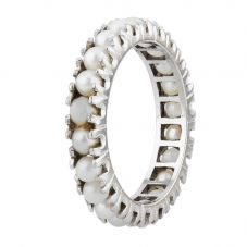 Second Hand 9ct White Gold Freshwater Pearl Full Eternity Ring 4309220