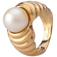 Second Hand 14ct Yellow Gold Cultured Pearl Ring 4309223