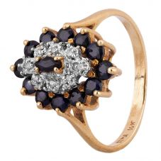Second Hand 9ct Yellow Gold Sapphire and Diamond Marquise Cluster Ring 4311070