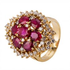 Second Hand 14ct Yellow Gold Ruby and Diamond Ring 4312025