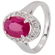 Second Hand 14ct White Gold Ruby and Diamond Ring 4312059