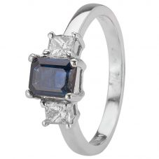 Second Hand 14ct White Gold Sapphire and Diamond Ring 4312061