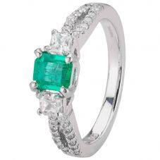 Second Hand 18ct White Gold Emerald and Diamond Ring 4312070