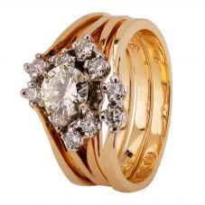 Second Hand 14ct Yellow Gold 0.90ct Diamond Cluster Ring 4312119