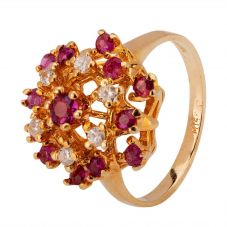 Second Hand 9ct Yellow Gold Ruby and Diamond Ring 4312147