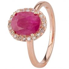 Second Hand 14ct Rose Gold Ruby and Diamond Ring 4312162