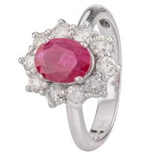 Second Hand 14ct White Gold Ruby and Diamond Ring 4312165
