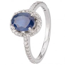 Second Hand 14ct White Gold Sapphire and Diamond Ring 4312171