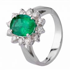 Second Hand 14ct White Gold Emerald and Diamond Ring 4312191