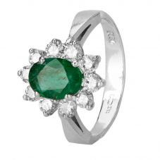 Second Hand 14ct white Gold Emerald and Diamond Ring 4312199