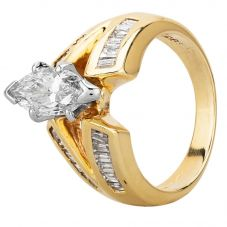 Second Hand 14ct Yellow Gold 1.30ct Marquise Cut Diamond Ring GMC(101/12/7)