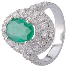 Second Hand 14ct White Gold Emerald and Diamond Ring 4312213