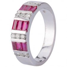 Second Hand 14ct White Gold Ruby and Diamond Ring 4312215