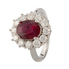 Second Hand 14ct White Gold Ruby and Diamond Ring 4312222