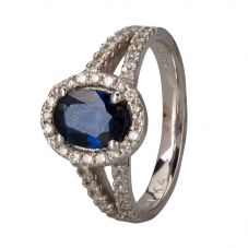 Second Hand 14ct White Gold Sapphire and Diamond Ring 4312232