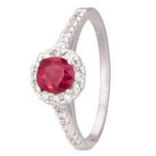 Second Hand 14ct White Gold Ruby and Diamond Ring 4312234