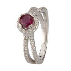 Second Hand 14ct White Gold Ruby and Diamond Ring 4312241