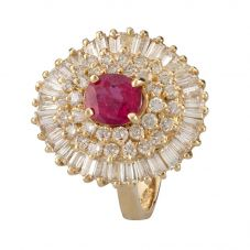 Second Hand 14ct Yellow Gold Ruby and Diamond Ring 4312243