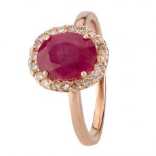 Second Hand 14ct Rose Gold Ruby and Diamond Ring 4312260