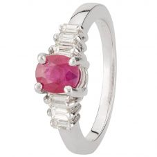Second Hand 14ct White Gold Ruby and Diamond Ring 4312271