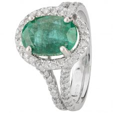 Second Hand 14ct White Gold Emerald and Diamond Ring 4312272