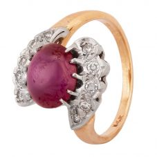 Second Hand 9ct Yellow Gold Cabochon Synthetic Star Ruby and Diamond Twist Ring 4312277