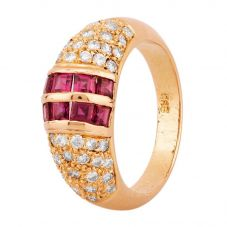 Second Hand 14ct Yellow Gold Ruby and Diamond Ring 4312287