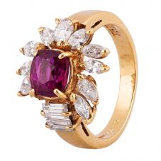 Second Hand 14ct Yellow Gold 1.50ct Ruby and 1.00ct Diamond Ring 4312302