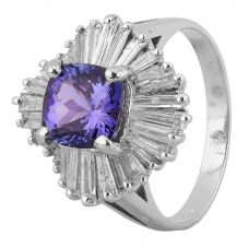 Second Hand 14ct White Gold 2.00ct Tanzanite and 1.25ct Diamond Ring 4312307
