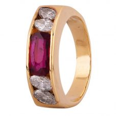 Second Hand 18ct Yellow Gold 0.85ct Ruby and 0.39ct Diamond Ring 4312312