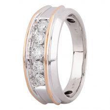 Second Hand 9ct Two Colour Gold 0.85ct Diamond Five Stone Ring 4312343