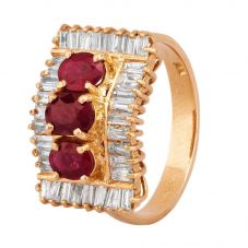 Second Hand 14ct Yellow Gold Ruby and Diamond Cluster Ring 4312356