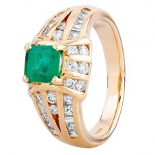 Second Hand 18ct Yellow Gold Emerald and Diamond Ring 4312362