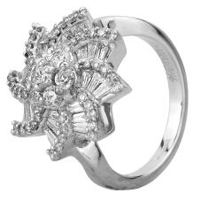 Second Hand 14ct White Gold Baguette and Round Cut Diamond Cluster Ring GMC(105/4/1)