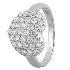 Second Hand Platinum 1.00ct Pavé Diamond Heart Cluster Ring 4312500