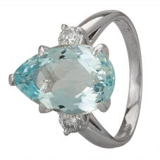 Second Hand Platinum 4.40ct Aquamarine and Diamond Shoulders Ring GMC(110/2/7)