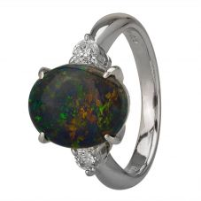 Second Hand Platinum 2.15ct Black Opal and Diamond Shoulders Ring GMC(112/01/3)