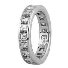 Second Hand Platinum 3.00ct Square Cut Diamond Full Eternity Ring 4312583