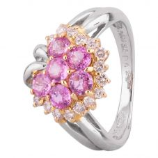 Second Hand Platinum 18ct Yellow Gold 1.05ct Pink Sapphire and Diamond Unfinished Flower Cluster Ring GMC(112/01/9)