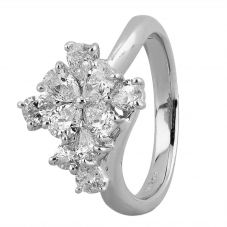 Second Hand Platinum 1.35ct Pear Diamond Cluster Ring 4312592