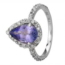 Second Hand 14ct White Gold 2.00ct Tanzanite and Diamond Pear Shaped Halo Ring GMC(115/2/7)